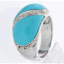 Genuine 14K White Gold 4.32ctw Turquoise & Diamond Ring