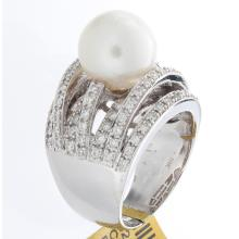 Genuine 18K White Gold 9.99ctw Pearl & Diamond Ring