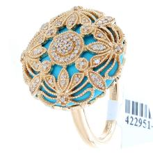 Genuine 14K Yellow Gold 8.09ctw Turquoise & Diamond Ring