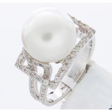 Genuine 14K White Gold 11.61ctw Pearl & Diamond Ring