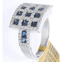 Genuine 18K White Gold 2.34ctw Sapphire & Diamond Ring