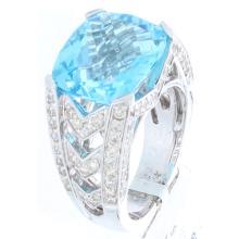 Genuine 14K White Gold 13.05ctw Topaz & Diamond Ring