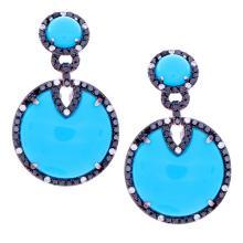 Genuine 14K White Gold 13.44ctw Turquoise, White & Black Diamond Earrings