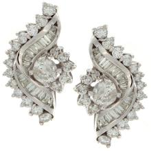 Genuine 14K White Gold 5.31ctw Diamond Earrings