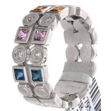 Genuine 18K White Gold 0.94ctw Rainbow Sapphire & Diamond Ring