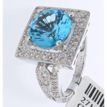Genuine 18K White Gold 5.42ctw Topaz & Diamond Ring