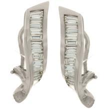 Genuine 14K White Gold 1.74ctw Diamond Earrings