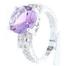 Genuine 18K White Gold 3.52ctw Amethyst & Diamond Ring