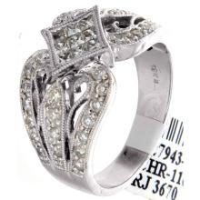 Genuine 18K White Gold 0.89ctw Diamond Ring