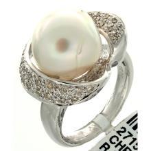 Genuine 14K White Gold 14.19ctw Pearl & Diamond Ring