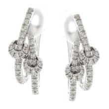 Genuine 14K White Gold 1.01ctw Diamond Earrings