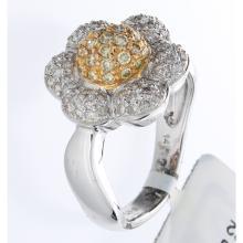 Genuine 14K 2Tone Gold 0.70ctw White & Yellow Diamond Ring