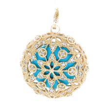 Genuine 14K Yellow Gold 5.76ctw Turquoise & Diamond Pendant