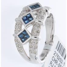 Genuine 14K White Gold 0.72ctw Sapphire & Diamond Ring