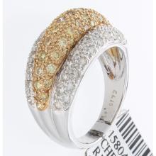 Genuine 14K 2Tone Gold 1.72ctw White & Yellow Diamond Ring