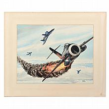 Alfred Owles Watercolor, Dogfight