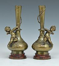 August Moreau Cupid Form Bronze Vases, 19th c