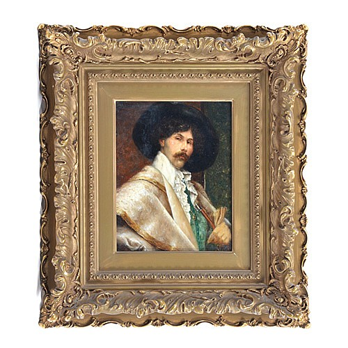 Gustave Barrier (French 1871-1953), Musketeer, oil on panel, signed upper left,
