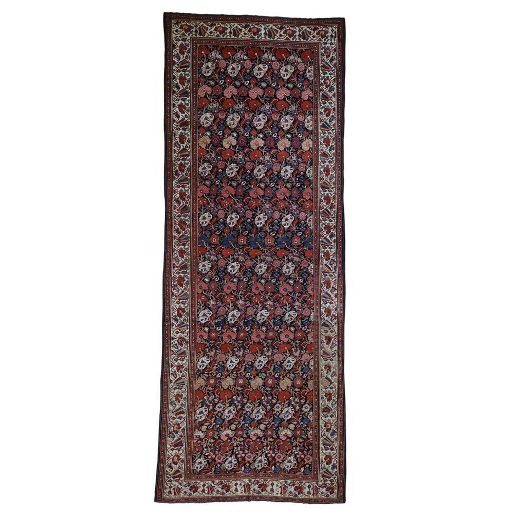 Antique Persian Bakhtiari Wide Gallery Runner Flower Design Hand-Knotted Oriental Rug