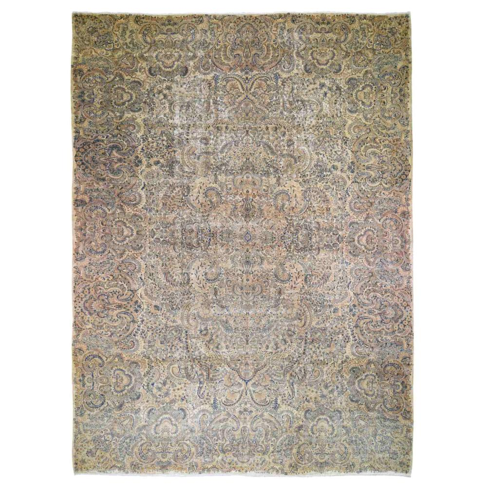 Oversized Antique Persian Kerman ,Soft Colors ,Even Wear Hand Knotted Oriental Rug
