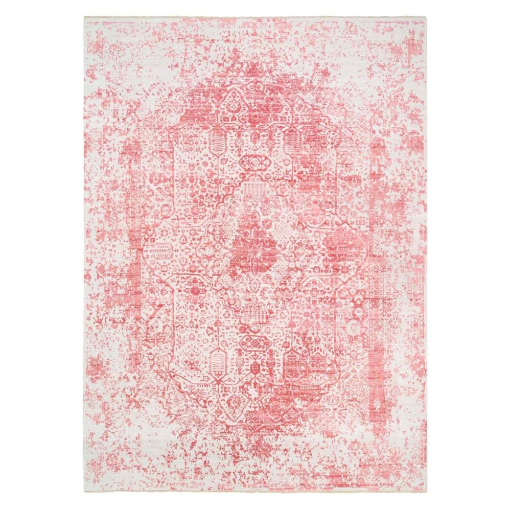 Hand Knotted Pink Broken Persian Design Wool And Pure Silk Oriental Rug