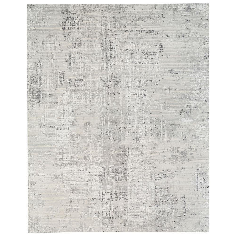 Oversize Light Gray Hand Spun Undyed Natural Wool Modern Hand Knotted Oriental Rug