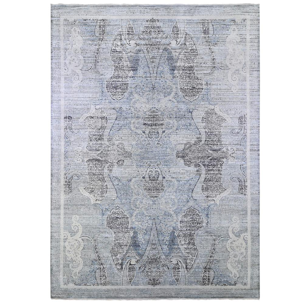 Silk with Textured Wool Paisley and Erased Mughal Inspired Design Blue Hand Knotted Fine Oriental Rug