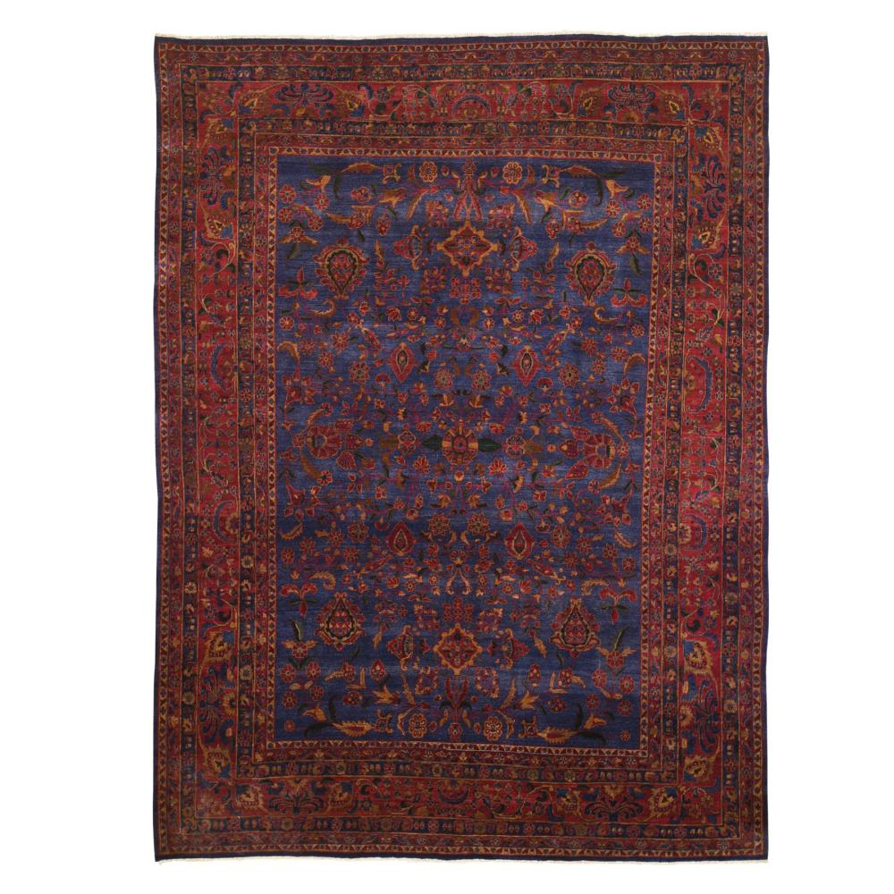 Antique Persian Kashan Good Condition Slight Wear Soft 300 KPSI Saturated Colors Pure Wool Hand Knotted Oriental Rug