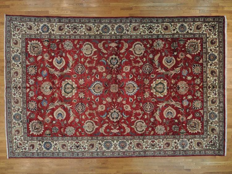 Oversize Semi Antique Persian Tabriz Handmade Oriental Rug