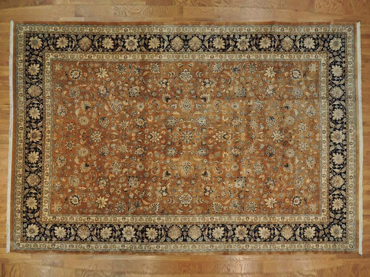 Persian Mashad Oversize Oriental Rug Hand Knotted Wool and Silk