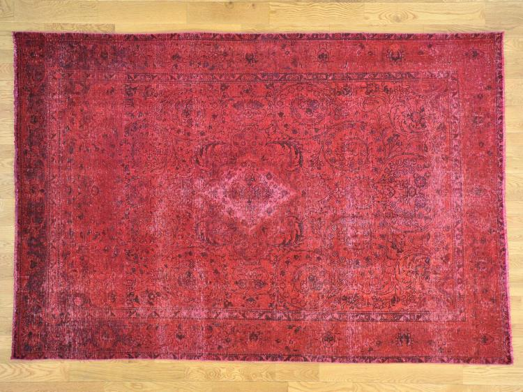 Persian Tabriz Some Wear Overdyed Hand Knotted Oriental Rug