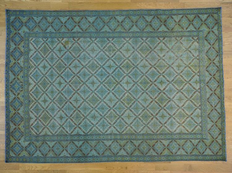 Sky Blue Old Persian Kashan Even Wear Oriental Rug Hand Knotted