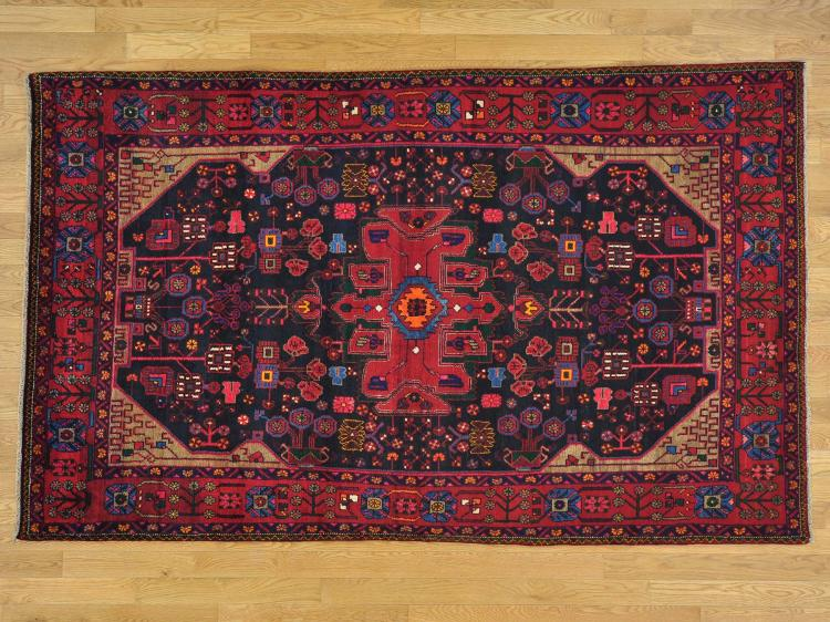 Navy Blue Persian Nahavand Hand Knotted Oriental Rug