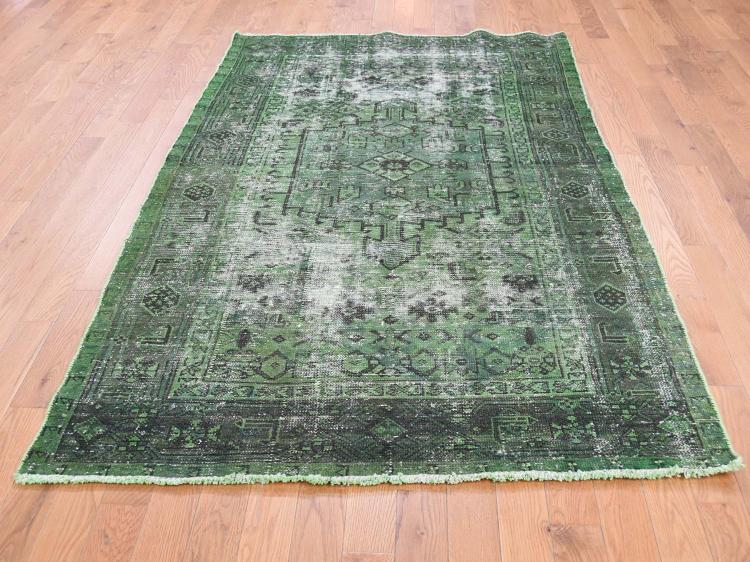 Hand Knotted Vintage Overdyed Persian Hamadan Oriental Rug