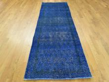 Hand-Knotted Vintage Overdyed Persian Sarouk Mir Runner Rug