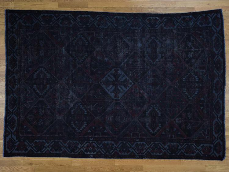 Vintage Overdyed Persian Bakhtiari Hand Knotted Oriental Rug