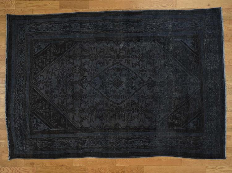 Vintage Overdyed Persian Bibikabad Hand-Knotted Oriental Rug