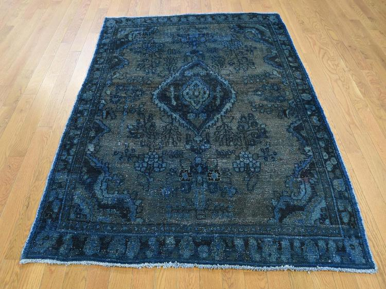 Hand-Knotted Vintage Overdyed Persian Lilahan Oriental Rug
