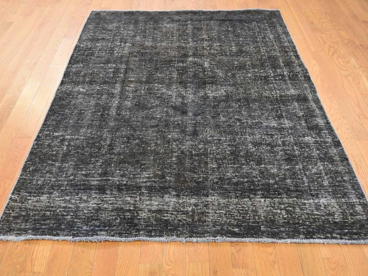 Vintage Overdyed Persian Tabriz Hand-Knotted Pure Wool Oriental Rug