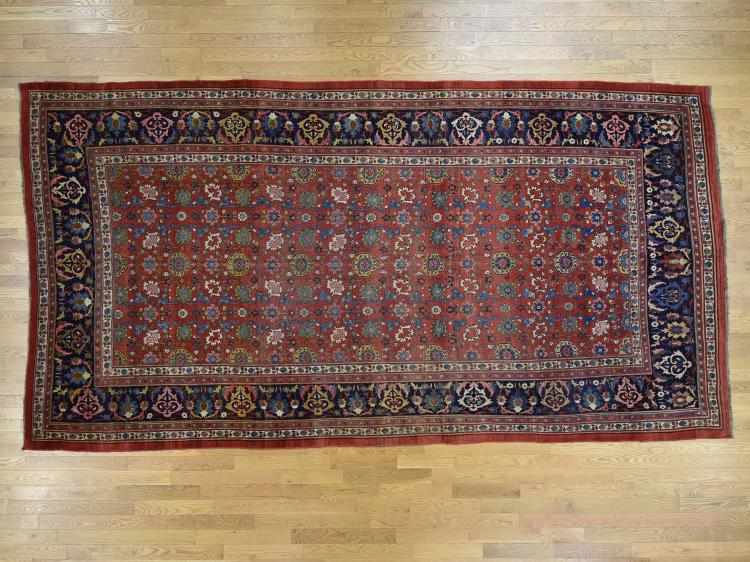 Hand-Knotted Antique Persian Bidjar Exc Cond Gallery Size Rug