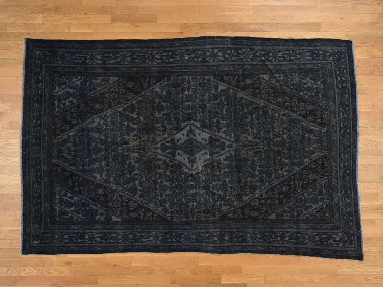Hand Knotted Pure Wool Vintage Overdyed Persian Bibikabad Oriental Rug