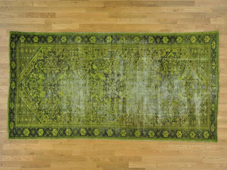 Gallery Size Handmade Worn Down Overdyed Persian Hamadan Rug