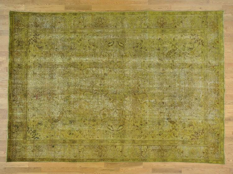 Gold Worn Down Overdyed Persian Tabriz Hand Knotted Oriental Rug