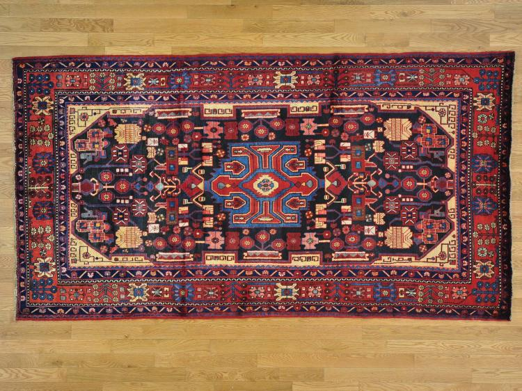 Pure Wool Navy Blue Persian Nahavand Hand Knotted Wide Runner Rug