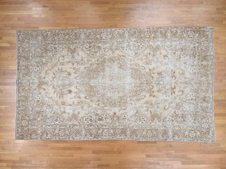 Hand-Knotted Vintage Persian Tabriz Sheared Thin Gallery Size Rug