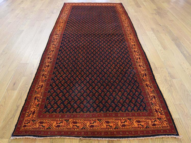 Hand-Knotted Vintage Overdyed Persian Sarouk Mir Wide Runner Rug
