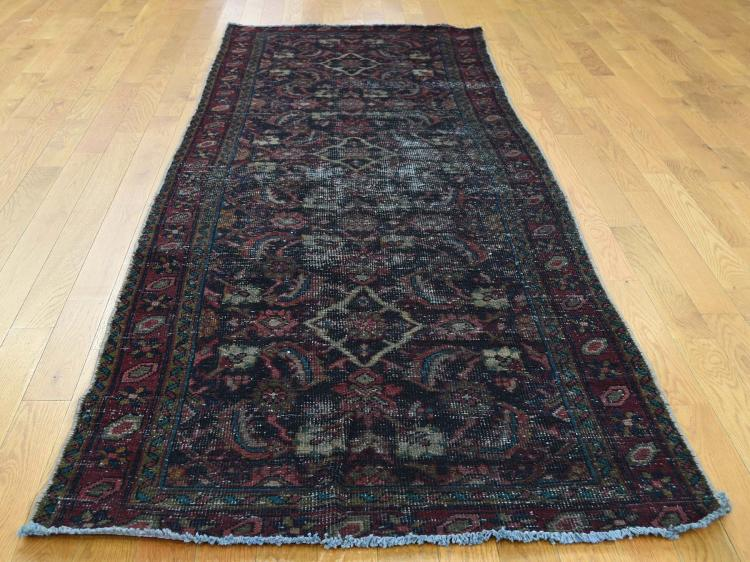 Hand Knotted Vintage Overdyed Persian Mahal Wide Runner Rug
