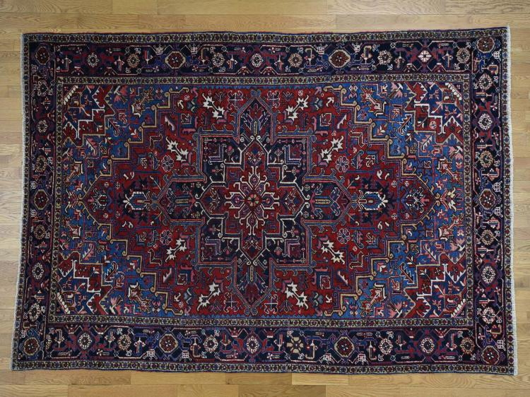 Semi Antique Persian Heriz Exc Condition Hand Knotted Rug