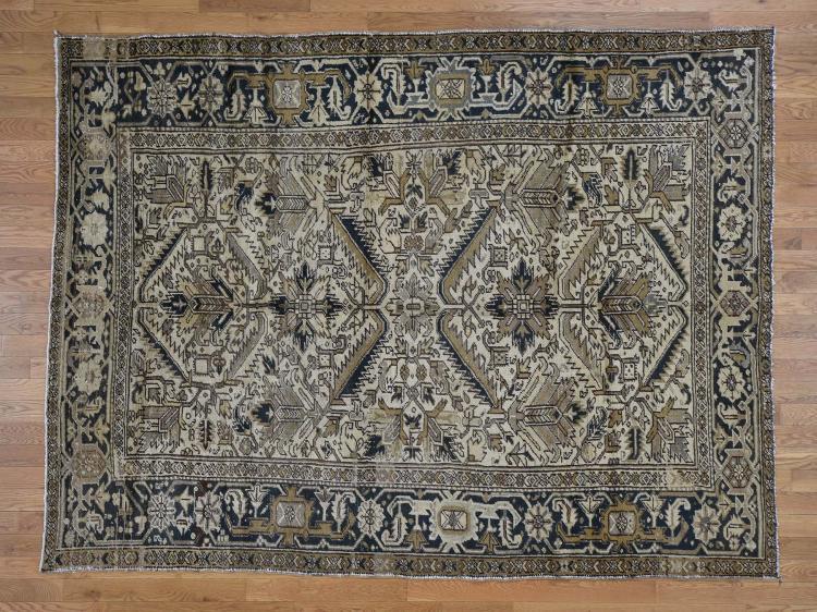 Vintage Persian Heriz No Worn Hand-Knotted Oriental Rug
