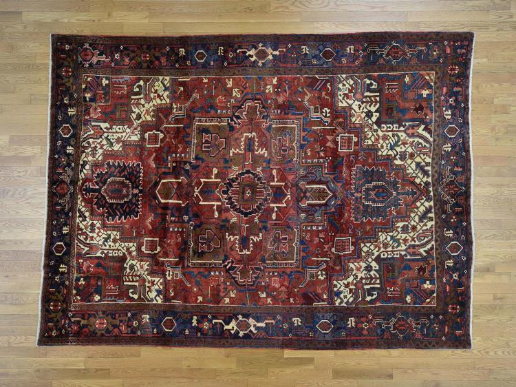 Semi Antique Persian Heriz Hand Knotted Pure Wool Oriental Rug